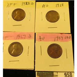 958 _ 1909 P VDB, 27S, 28P & D Lincoln Cents, all Grading EF-AU.