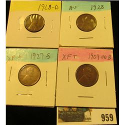 959 _ 1909 P VDB, 27S, 28P & D Lincoln Cents, all Grading EF-AU.