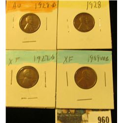 960 _ 1909 P VDB, 27S, 28P & D Lincoln Cents, all Grading EF-AU.