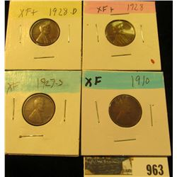 963 _ 1910P, 27S, 28P & D Lincoln Cents, all Grading EF.