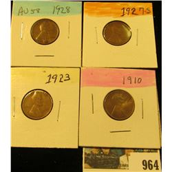 964 _ 1910P, 23P, 27S, & 28P Lincoln Cents, Fine to AU.