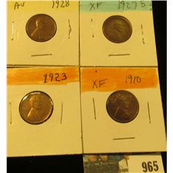 965 _ 1910P, 23P, 27S, & 28P Lincoln Cents, Fine to AU.