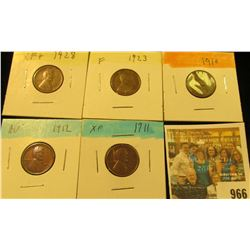 966 _ 1910P, 11P, 12P, 23P, & 28P Lincoln Cents, Fine to AU.