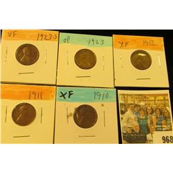 968 _ 1910P, 11P, 12P, 23P, & S Lincoln Cents, Fine to EF.