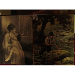 "984 _ 19"" x 16"" Print of Mother with Child, ""I Love You""; Fisherman ""Going After The Big One""; & a s"