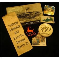 "991 _ Ribbon ""Farmers Fordson Day Waterloo Tuesday March 21"" (Fordson Tractors); Pin-back ""1837-1987"