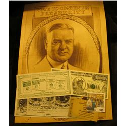 "999 _ Advertising Poster ""Vote to Continue Prosperity Herbert Hoover"". 10"" x 13""; ""Muscatine, Iowa M"