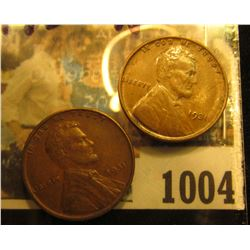 1004 _ Pair of 1931 P Lincoln Cents, both Brown Almost Uncirculated.
