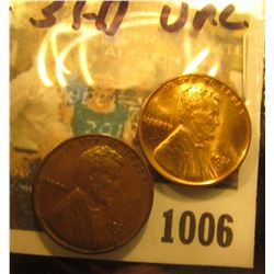 1006 _ Pair of 1931 D Lincoln Cents, One Brown Uncirculated, and other cleaned Bright AU..