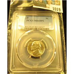 1019 _ 1992 D Jefferson Nickel PCGS slabbed MS65FS.