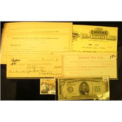 "1024 _ Unissued ""Fractional Share Scrip…Dubuque & Sioux City Railroad Company""; 1895 Check ""First Na"