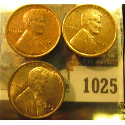 1025 _ 1927 D Cent, VF; & a pair of 1929 P Cents, mostly Red Almost Uncirculated.