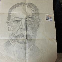 "1049 _ Original 14"" x 24"" Pencil Sketching of ""Roy C. Lawrence"" dated 1923. One of the original Lawr"