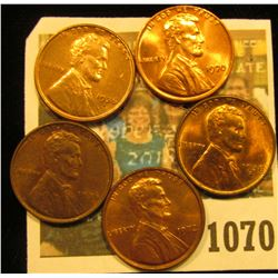 1070 _ 1936P, S, 38S, 70P, & 72P Lincoln Cents, all Brilliant Uncirculated.