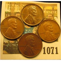1071 _ (2) 1910P AU, 11S VF, & 36P Brown Uncirculated Lincoln Cents.