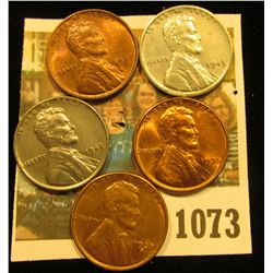 1073 _ 1935P, 37P, S, & (2) 43P Gem BU Lincoln Cents.