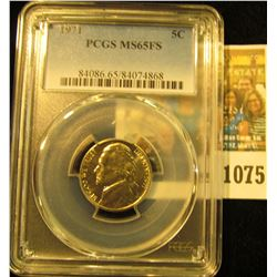 1075 _ 1971 P Jefferson Nickel PCGS slabbed MS65FS.