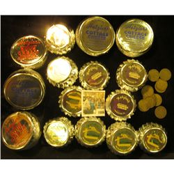 1086 _ Large group of Dairy Related container Lids and Old Dairy Tokens.