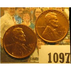 1097 _ Pair of 1937 S Lincoln Cents, Brilliant Red Uncirculated.