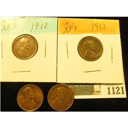 1121 _ Pair of 1913 P EF & Pair of 1934 P Red-Brown Uncirculated Lincoln Cents.