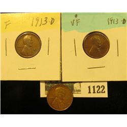 1122 _ Pair of 1913 D F-VF & 1930 P Brown Uncirculated Lincoln Cent.