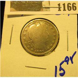 1166 _ 1897 P U.S. Barber Silver Quarter.