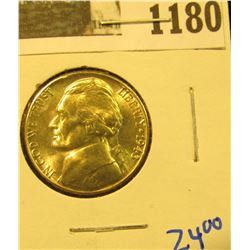 1180 _ 1943 S Blazing Beauty World War II Silver Jefferson Nickel.