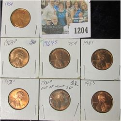 1204 _ 1969 P, D, S, 1981 P, D, 83 P, & D U.S. Lincoln Cents, Unc to Red Gem BU U.S.