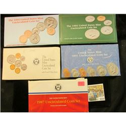 1214 _ 1987, 91, 92, 93, & 94 U.S. Mint sets. All original as issued. (total face value $9.10) Red B