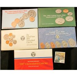 1215 _ 1987, 91, 92, 93, & 94 U.S. Mint sets. All original as issued. (total face value $9.10) Red B