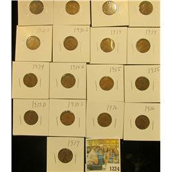 1224 _ (2) 1930P, (2) D, (2) S, (3) 34P, D, (2) 35P, D, S, (2) 36P, & 39P Wheat Cents, most are VG t