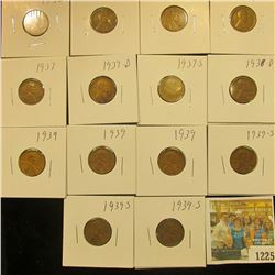 1225 _ (2) 1936P, D, S, 37P, D, S, 38D, (3) 39P, & (3) 39S Wheat Cents, most are VG to F. All carded