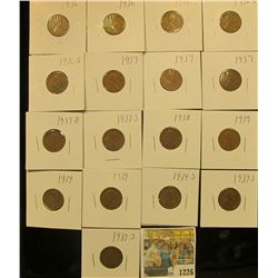 1226 _ (3) 1936P, D, S, (3) 37P, D, S, 38P, (3) 39P, & (3) 39S Wheat Cents, most are VG to F. All ca