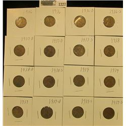 1227 _ (2) 1936P, D, S, (2) 37D, S, 38P, D, S, (3) 39P, D, & (2) 39S Wheat Cents, most are VG to F.