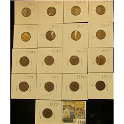 1228 _ (2) 1936P, D, S, (3) 37P, S, 38P, D, S, (3) 39P, & (3) 39S Wheat Cents, most are VG to F. All