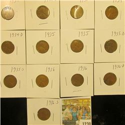 1230 _ 1930P, D, S, 34P, D, (2) 35P, D, S, (3) 36P, & 36S Wheat Cents, most are VG to F. All carded