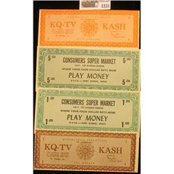 "1231 _ Ca. 1950 (2) different $1 & (2) different $5 ""Merchandise Certificate Not Transferable KQ-TV"