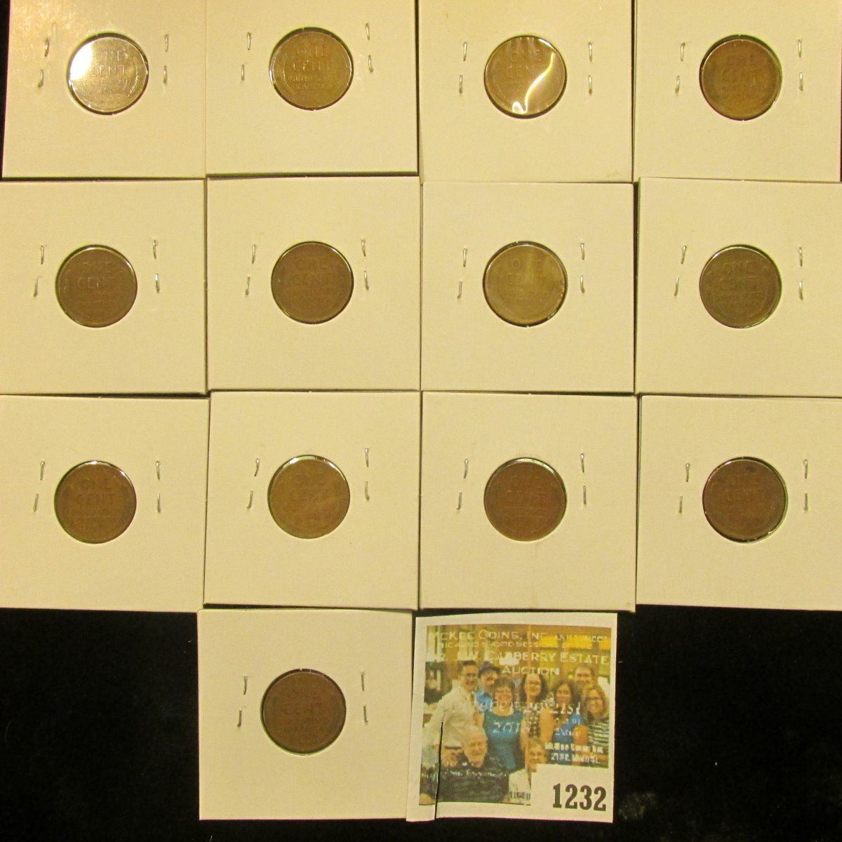 1232 _ (2) 1937P, D, S, 38P, D, S, 38S, (3) 39P, D, & (2) S Wheat Cents,  most are VG to F  All carde