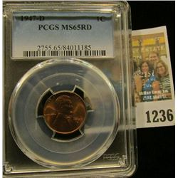 1236 _ 1947 D Lincoln Cent, PCGS slabbed MS65RD.
