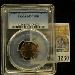 1250 _ 1950 S Lincoln Cent, PCGS slabbed MS65RD.