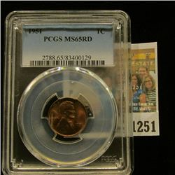 1251 _ 1951 P Lincoln Cent, PCGS slabbed MS65RD.