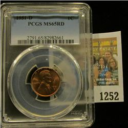 1252 _ 1951 D Lincoln Cent, PCGS slabbed MS65RD.