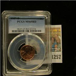 1257 _ 1957 D Lincoln Cent, PCGS slabbed MS65RD.
