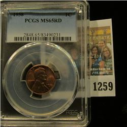 1259 _ 1958 P Lincoln Cent, PCGS slabbed MS65RD.