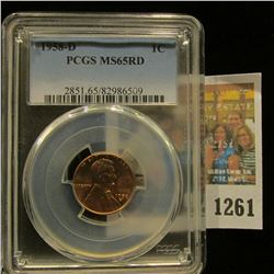 1261 _ 1958 D Lincoln Cent, PCGS slabbed MS65RD.