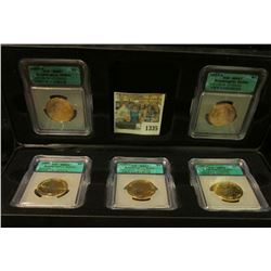 "1335 _ Cased Five-piece President Washington ""Golden"" Dollar Set.  Case has six slots, but only five"