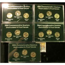 1337 _ 2004 Philadelphia, Denver & San Francisco Uncirculated & Proof Issues cased Quarter Set. (5)
