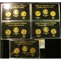 "1338 _ ""Sacagawea Dollar 2000-2001-2002-2003-2004"" Five-cased sets each containing P, D, S coins, al"