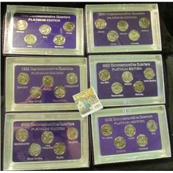 "1351 _ 1999, 2000, 2001, 2002, 2003, & 2004 ""Commemorative Quarters Platinum Edition"" Five-piece Sta"