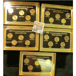 "1366 _ 2004, 2005, 2006, 2007, & 2008""Commemorative Quarters Gold Edition"" Five-piece Statehood Quar"